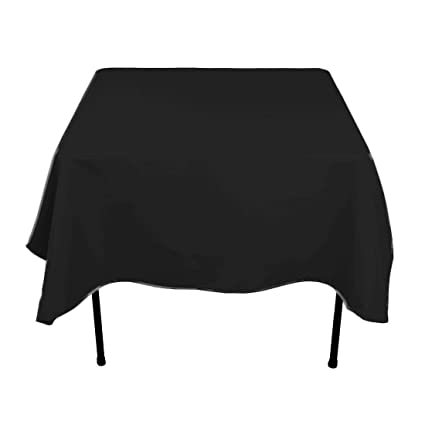 LinenTablecloth 70 Inch Square Polyester Tablecloth Black