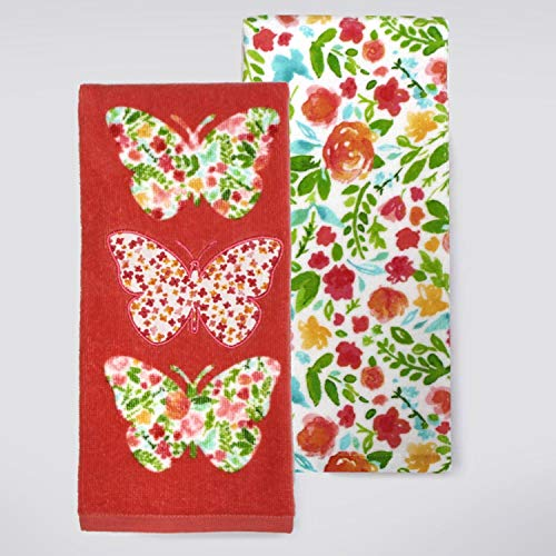 Celebrate Spring - 100% Cotton Kitchen or Bathroom Hand Towels - Set of 2 (Coral - Butterfly ()