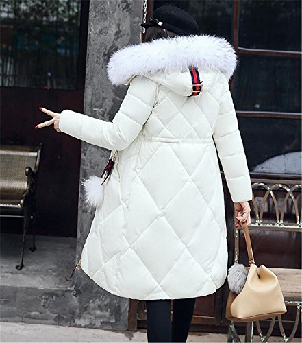 Hooded Ladies Warm White Jacket WLITTLE Womens Long Cotton Jacket Fur Collar Parka Puffer Down Winter Coat Winter Womens Quilted q4xC8