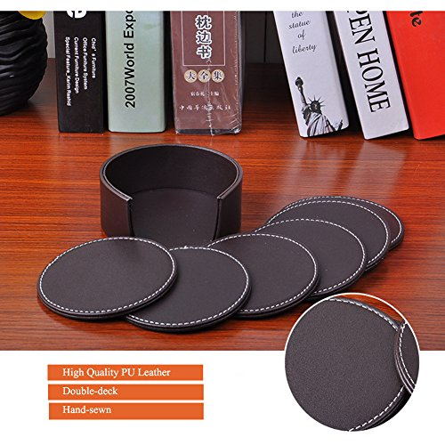 Large Product Image of Drink Coasters PU Leather Coasters for Drinks Set of 6 with Holder , Protect Your Furniture from Stains, Coffee Round 10x10CM(3.94inch)
