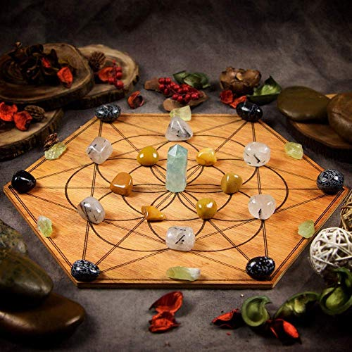 Stress Relief Large Crystal Grid Set with 11.75 inch Sacred Geometry Grid Board, and Fluorite, Yellow Jasper, Tourmalinated Quartz, Snowflake Obsidian, and Green Calcite