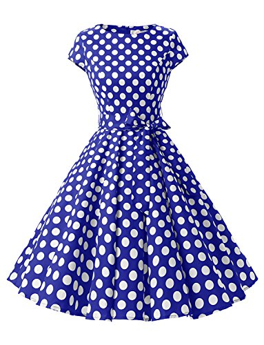 Dressystar DS1956 Women Vintage 1950s Retro Rockabilly Prom Dresses Cap-sleeve L Royalblue White Dot B (1950s Pin Up Costume)