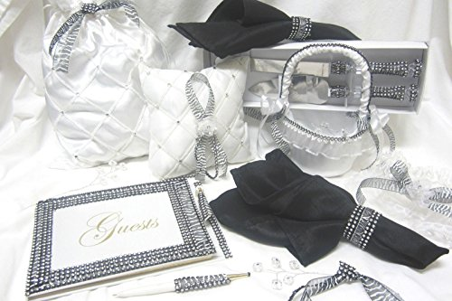 Zebra Print Wedding Guest Book Cake Knife and Server Basket Garter Set -