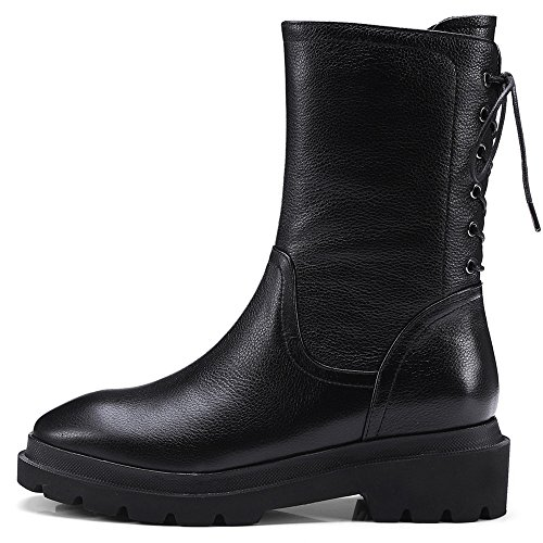Round Low Leather Handmade Toe Heel Black Comfort Women's Ankle Seven Genuine Lace Nine Boots Up Black 4qYwEIHW