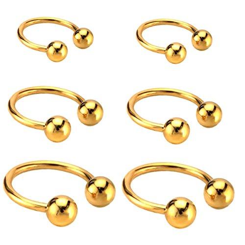 Joybeauty 6mm 10mm 14mm Unisex Stainless Steel Ball Horseshoe Hoop Ear Cartilage Helix Septum Circular Barbells Earrings 16G Pack of 6 Pcs (Gold)