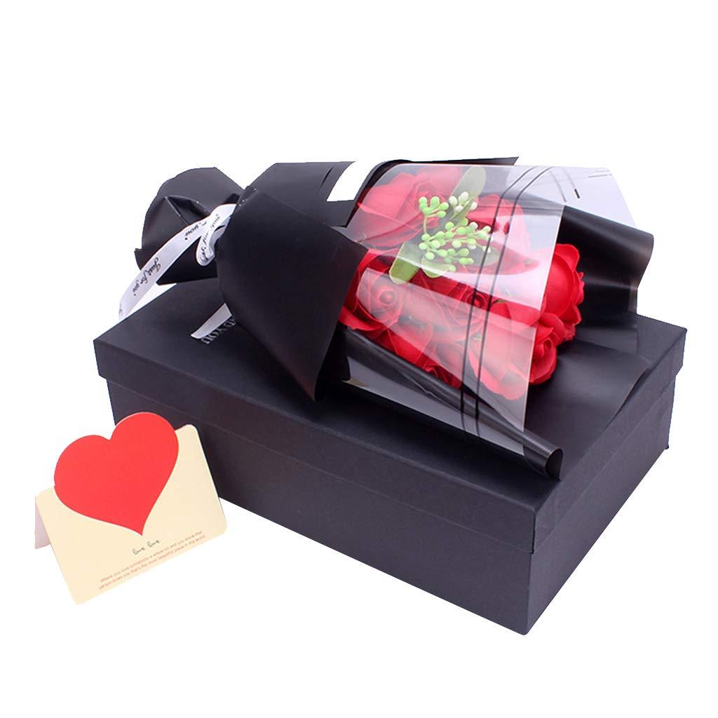 Aniversario decoraci/ón del hogar Navidad Regalo para San Valent/ín Ramo de Flores de jab/ón Boda Amycute Ramo de Rosas Artificiales con Caja de Regalo