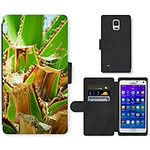 Hot Style Cell Phone Card Slot PU Leather Wallet Case // M00153003 Background Cut Cutting Detail Green // Samsung Galaxy Note 4 IV