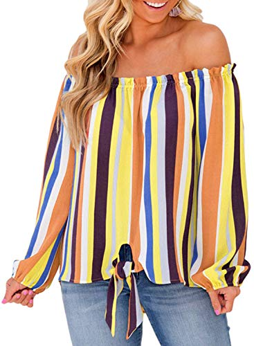 Easy Pattern Block (Asvivid Womens Striped Off The Shoulder Long Sleeve Chiffon Shirt Color Block Tie Knot Loose Blouses Tee Tops L Multicoloured7)