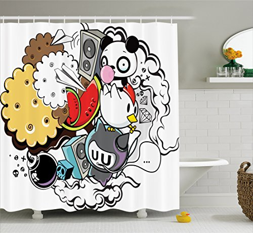 Ambesonne Indie Shower Curtain, Animal and Food Themed Compo