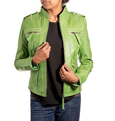 Femmes Vert rŽel en cuir souple Slender ŽlŽgant et ˆ la mode Moto Veste.