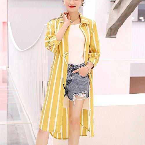 QFFL fangshaifu ストライプ女性ロングセクションシャツ日保護服/夏薄い抗UV通気性コートショール/シンプルな防寒カーディガン(5色使用可能) (色 : B, サイズ さいず : M)