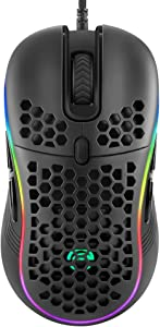 MARVO PC USB Wired Gaming Mouse,Lightweight Honeycomb Shell w/Multicolored Backlit,Ultralight Weave Cable (Black)
