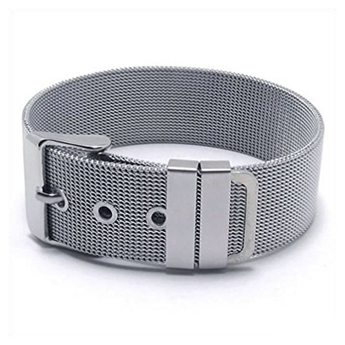 - Dancing Stone Jewelry Stainless Steel Bracelet Buckle Belt Mesh Classic Cuff Bangle