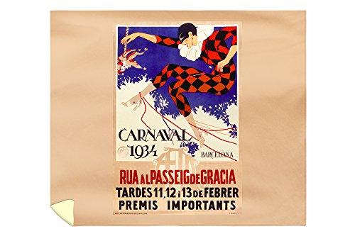 Carnaval 1934 Barcelona Vintage Poster Spain c. 1933 (88x104 King Microfiber Duvet Cover) by Lantern Press