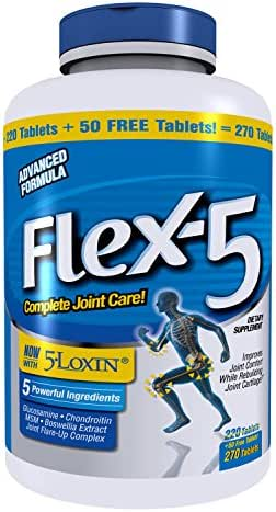 Flex-5 with Glucosamine Chondroitin, 5-Loxin and More - 220 Tablets Plus 50 Free Tablets for a 270 Value Size.