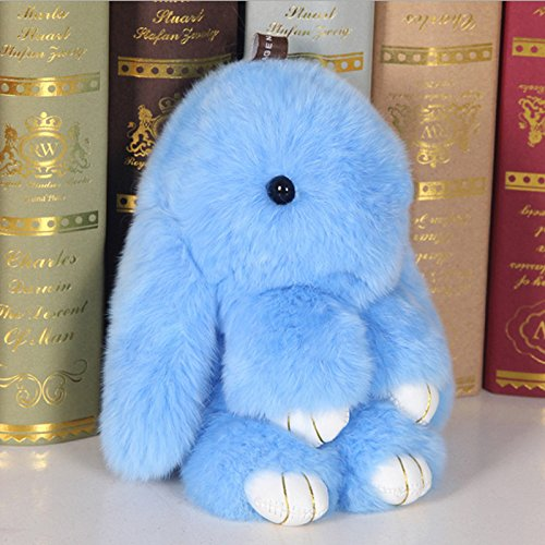 (BLUE)Fluffy Bunny Plush Toy Anime Fur Rex Rabbit Pendant Keychain Decoration Hanging for Car Bags Toys for Girls Gift 15cm