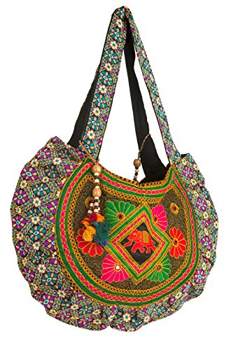 Floral Handbag Tote Colorful Handmade Embroidered Women Large Travel School Work Laptop Shoulder Bag (Red)