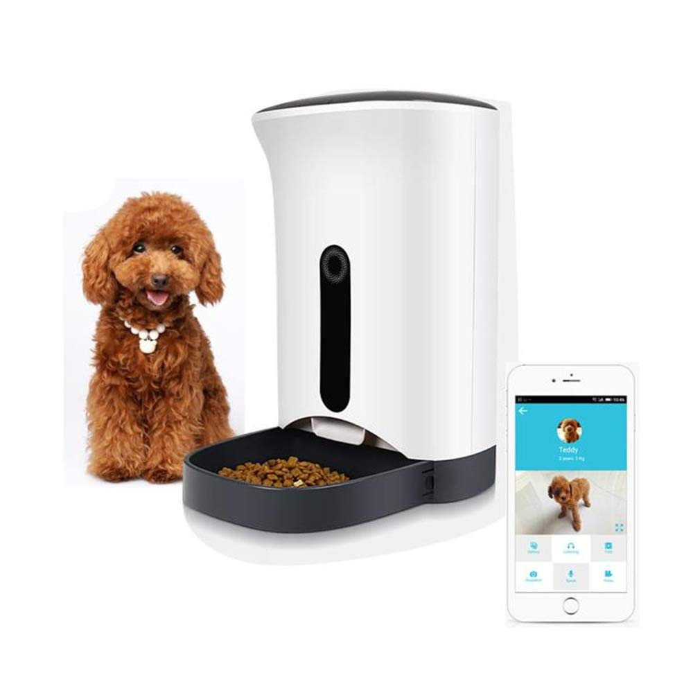 JAWM Pet Dog Cat Smart Automatic Feeder, Programmable Timer Portions Food Dispenser with Real Time HD Camera
