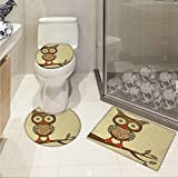 jwchijimwyc Owl 3 Piece Extended bath mat set Cute Owl Sitting on Branch Eyesight Animal Humor Pastel Retro Modern Graphic Increase Brown Cream Red Teal
