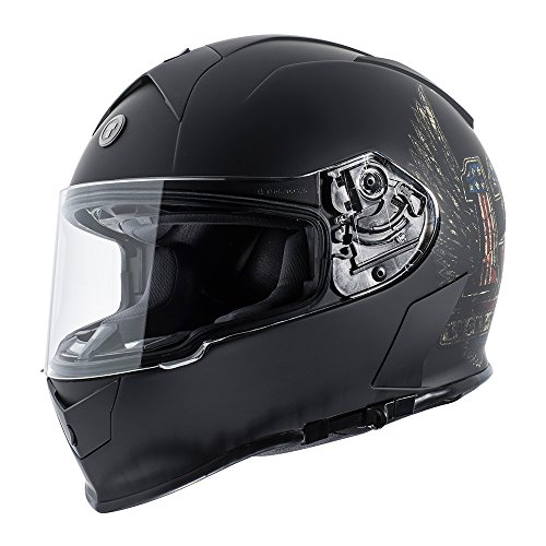Torc T14 Wings Lucky 13 Mako Full Face Helmet (Flat Black, Large)