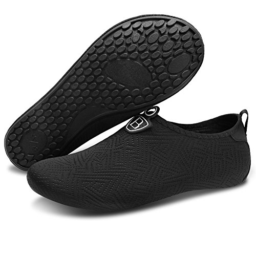Barerun Women Water Shoes Quick-Dry Breather Sports Skin Shoes Barefoot Anti-Slip Multifunctional Socks Yoga Exercise Black 8-9 US ()