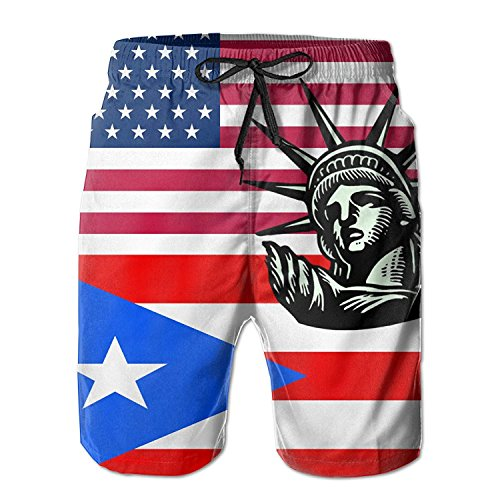 Liberty Puerto Rico - Statue Liberty USA Puerto Rico Flag Men's Quick Dry Beach Shorts Swim Trunks XX-Large