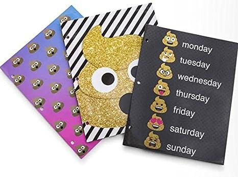 Escuela carpetas carteras de caca EmojI emoticono 3 unidades Set: Amazon.es: Oficina y papelería