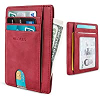 MR. YLLS Slim Thin Minimalist Front Pocket RFID Blocking Leather Wallet for Men & Women