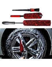 bzczh Woolie - Juego de 3 cepillos para ruedas de limpieza (lana sintética, 1 cepillo de limpieza para llantas de coche, 1 cepillo pequeño de lana suave y 1 cepillo para detalles de coche, lana de neumáticos)