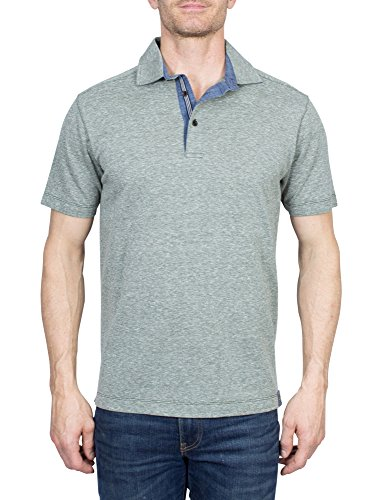 Thaddeus Tyler Men's Short Sleeve Heathered Cotton Blend Polo Shirt, Olive Green, - Heathered Green Olive