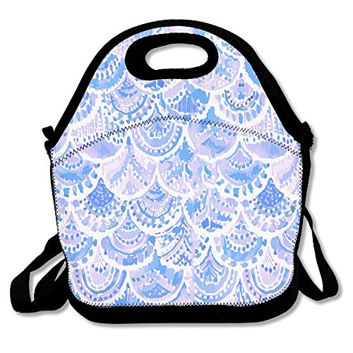 Aqua Mermaid Scales Lunch Tote Insulated Reusable Picnic Lunch Bags Boxes For Men Women Adults Kids Toddler Nurses