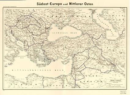Amazon Com 1940 Map Sudost Europa Und Mittlerer Meer Size 18x24