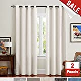 White Linen Cotton Curtains for Living Room 63 Inches Long Flax Room Darkening Burlap Window Curtains for Bedroom Drapes Double Width