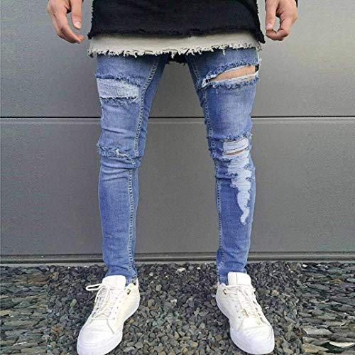 Slim Pantalones Rasgados Fitness Rasgados Pantalones De Pantalones Verano Delgados Elásticos Fit Mezclilla De Hombre Mezclilla Ocio Blau Pantalones Pantalones De De De para Mezclilla De wYPU4Iq