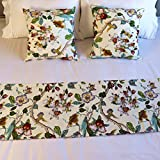 YIH Queen Bed Runner Scarf, White Floral Bedroom