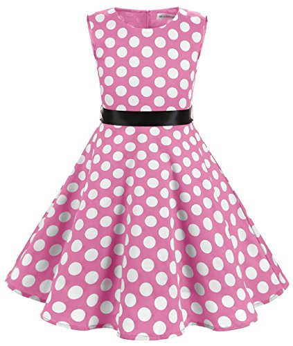 Pink White Dots (MUADRESS Girls Sleeveless O-Neck Audrey 1950s Vintage Swing Princess Party Dress Pink Big White Dot L)