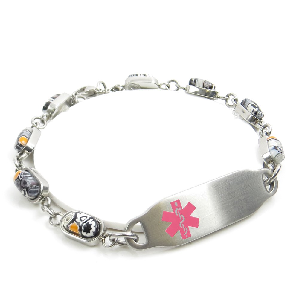 Millefiori Glass Medical ID Bracelet Black//White Pattern Blank Pink My Identity Doctor Made in USA