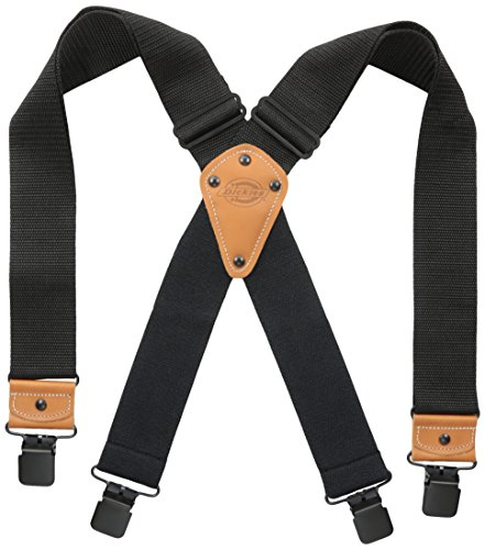 Dickies Industrial Strength Suspenders - Men's Wide Adjustable Thick Strap Clips for Work Heavy Duty Pants,Black,One sizee