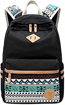 Hosaire Extra grante!Mochila Vintage de Lona para Las Mujeres Mochila Antigua para La Fuera Camping Picnic Deporte Mochila de Universidad (Negro)