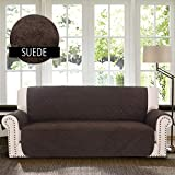 RHF Faux Suede Anti-Slip Sofa Cover, Couch Covers for 3 Cushion Couch, Couch Cover, Sofa Covers for Living Room,Couch Covers for Dogs, Sofa Slipcover, Couch Protector (Sofa: Chocolate)