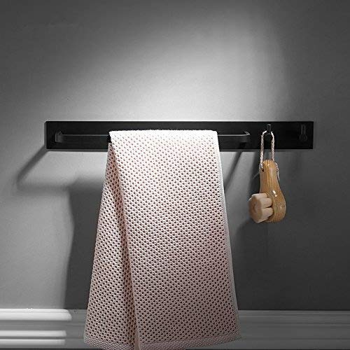 Adhesive Towel Rail with 2 Hook,40cm, Black Color, Patented Glue + 3M Self-Adhesive, Aluminum,Beelee by Beelee (Image #5)