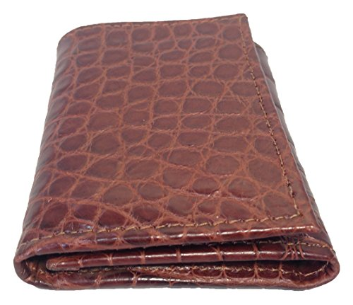 Sultan Genuine Cognac Men's Alligator gloss Semi Wallet Safari Trifold qqxHrzwA