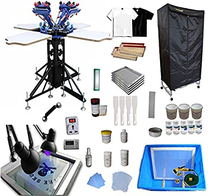 INTBUYING 4 Color 4 Station Screen Printing Kit Silk Screen Printing Machine T-Shirt Printing Machine