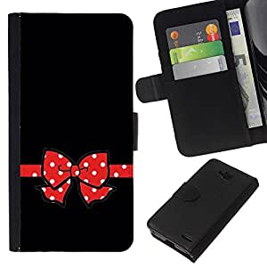 KLONGSHOP // Tirón de la caja Cartera de cuero con ranuras para tarjetas - Ratón rojo del empuje Dot Negro minimalista - LG OPTIMUS L90 //