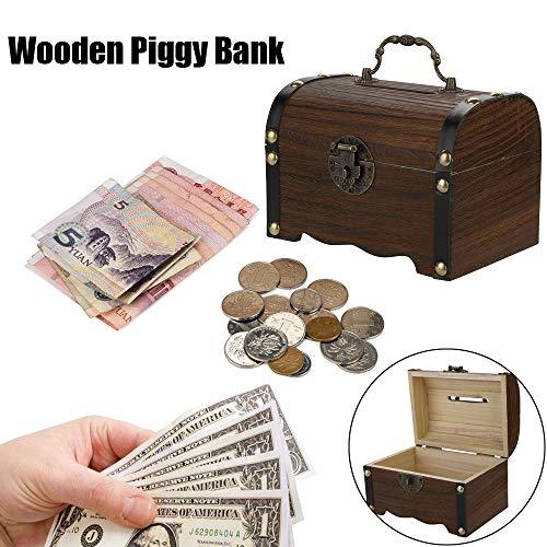 Gotian Wooden Piggy Bank Safe Money Box Savings with Lock Wood Carving Handmade Treasure Chest Box (Drive Rip)