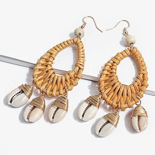Women Vintage Ocean Style Holiday Beach Sea Shell Earrings Rattan (Brown, Style 1) ()