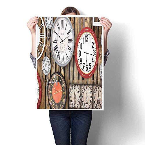 "Canvas Prints Wall Art,Antique Clocks on The Wall Instruments of Time Vintage Decorative Pattern Brown and Painting,Colorful Paintings for Living Room,20""W x 32""L(Frameless) from SCOCICI1588"