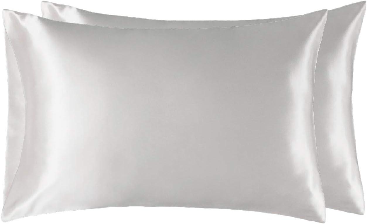 Bedsure Funda Almohada 50x75cm Satén Blanco - Juego de 2 Fundas Almohadas 75x50 Pelo Rizado, Muy Liso Suave de 100% Microfibra, Antiarrugas sin Cremallera, 2 Piezas