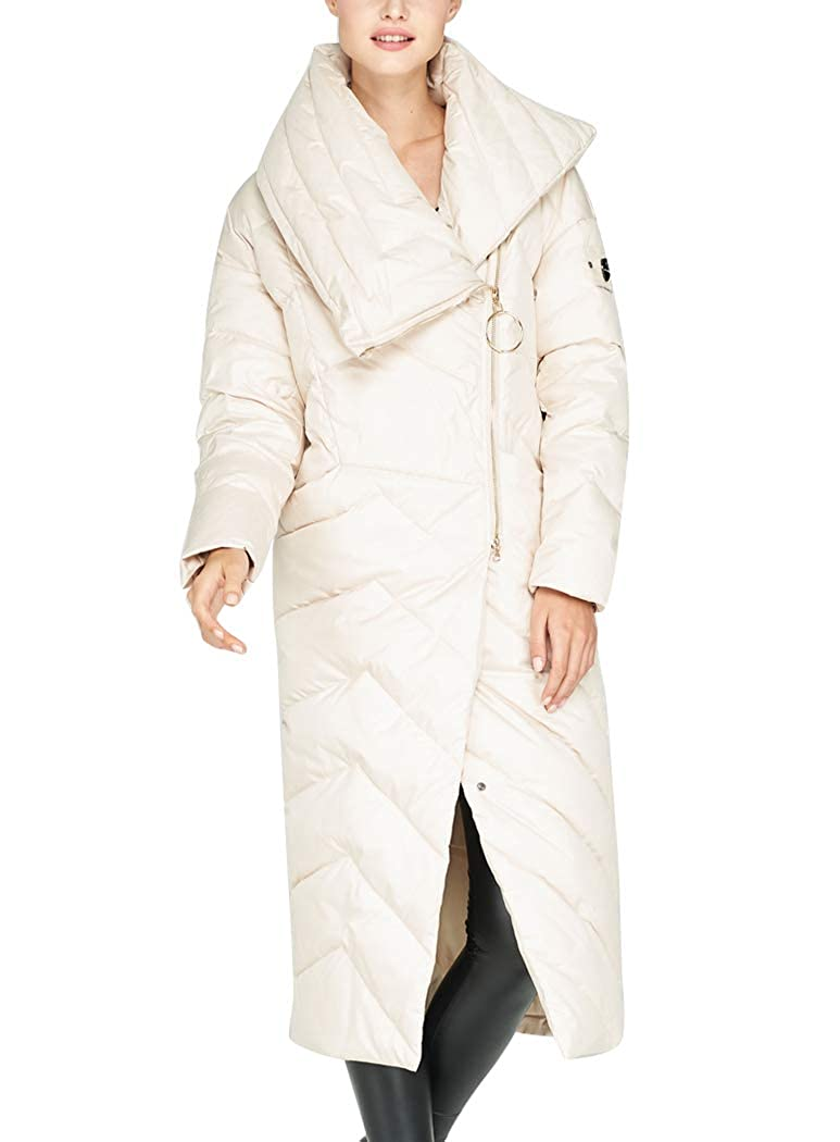 White Newdeve Women's Down Jacket Long Winter Thick Warm Parka Overcoat