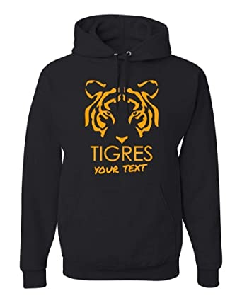 Tigres UANL Mexico Hooded Hoodie Hoody Sudadera with Free Custom Text(Optional) (Black